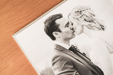 Custom made, handcrafted wedding album, full page spread, detail shot. Darley and Underwood Photography, covering Leicestershire, Warickshire, Northamptonshire, Rutland, Nottinghamshire and beyond.