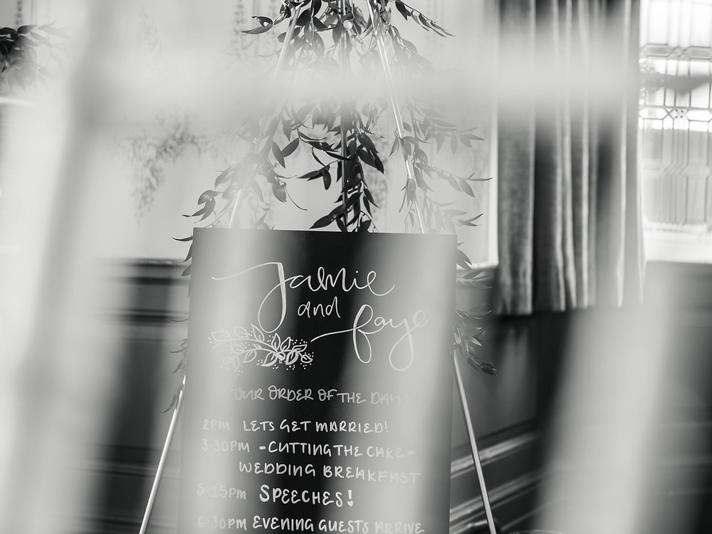 Wedding order of the day / agenda / timetable. Bespoke, luxury wedding signage Midlands.