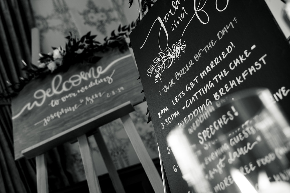 Wedding signage photographed by Darlay and Underwood Photography - Leicestershire wedding photographers