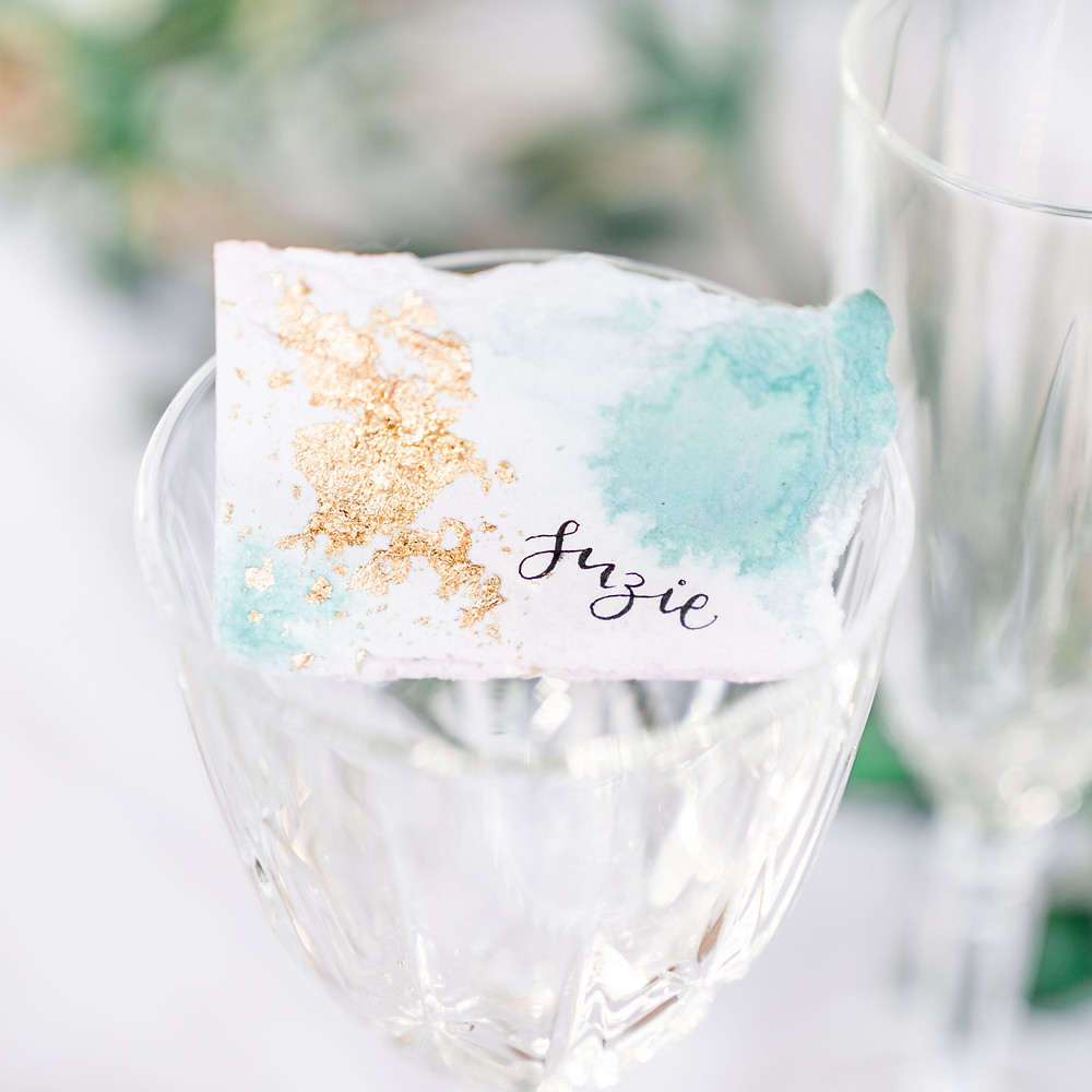 Bespoke wedding place names for your wedding breakfast. Photography by Leicester based Darley and Underwood.