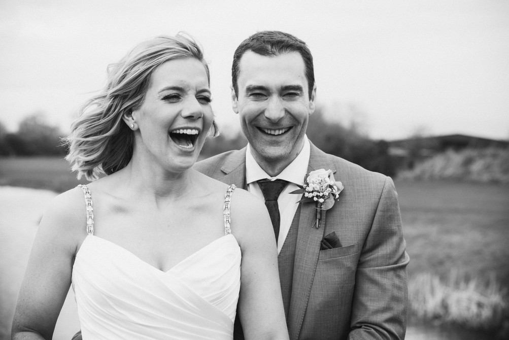 Midlands wedding photographers using film. Black and white wedding portrait of the bride and groom.