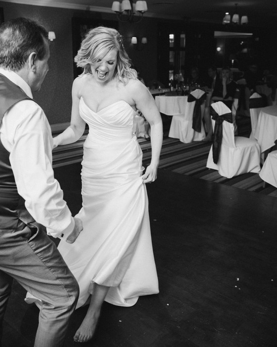 Black and white photograph of the bride having a dance. Nottingham wedding.