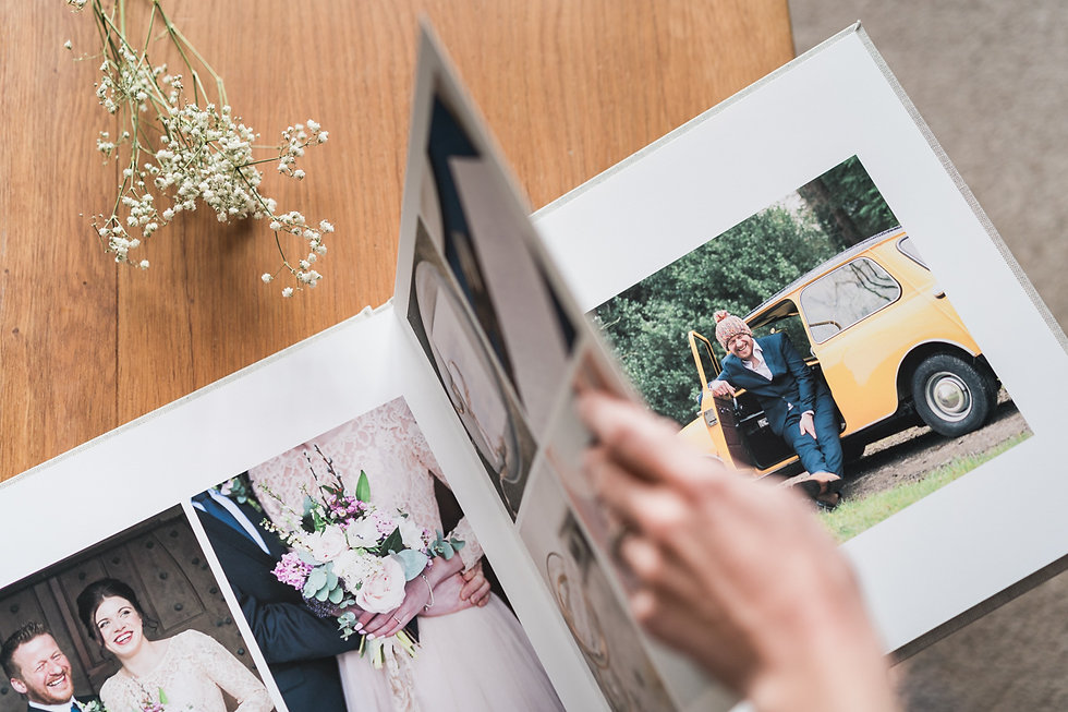 Custom made, handcrafted wedding photography album. Darley and Underwood Photography, Leicestershire.