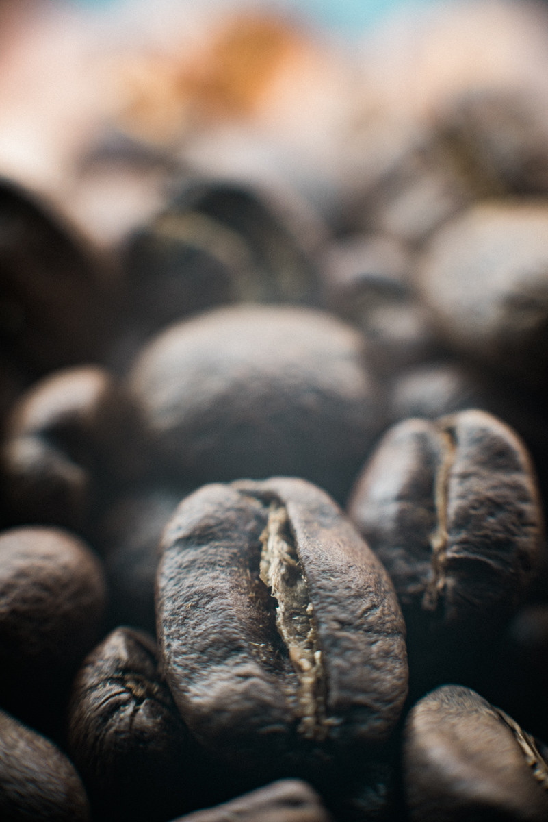 Macro coffee beans, Two Chimps, By Darley and Underwood photography, East Midlands wedding photography.