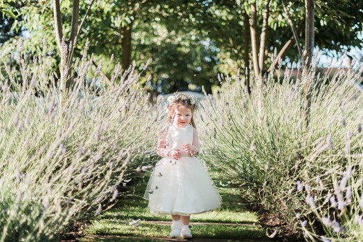 Flower girl at the countryside wedding venue The Old Vicarage Boutique Hotel