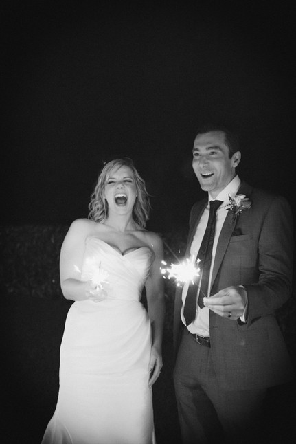 Wedding sparklers with the bride and groom. Black and white wedding photography Nottinghamshire.
