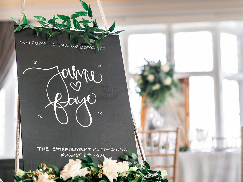 Bespoke blackboard welcome signage for your wedding. Wedding photography Leicestershire.
