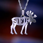 silver moose name necklace