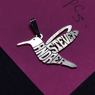 bird seagull hummingbird personalized name necklace gold silver jewelry