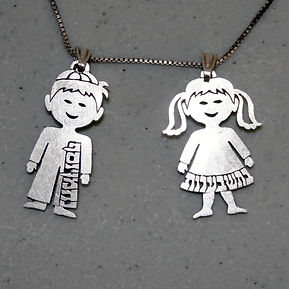 Jewish kid name necklace.