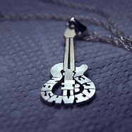 musical instrument piano violin guitar personalized name jewelry in silver & gold