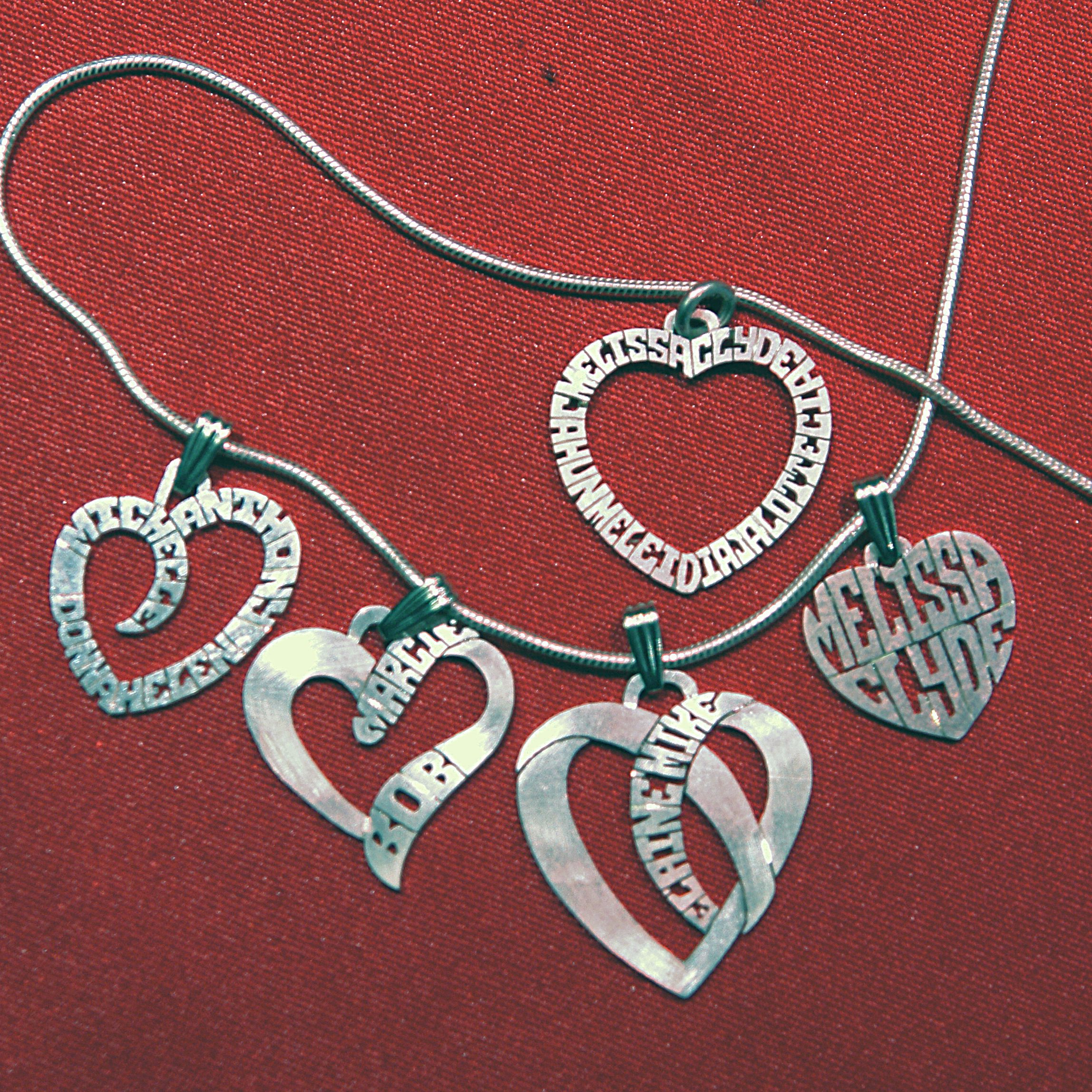Silver personalized hearts