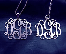 Personalized silver monogram initial name necklace pendant