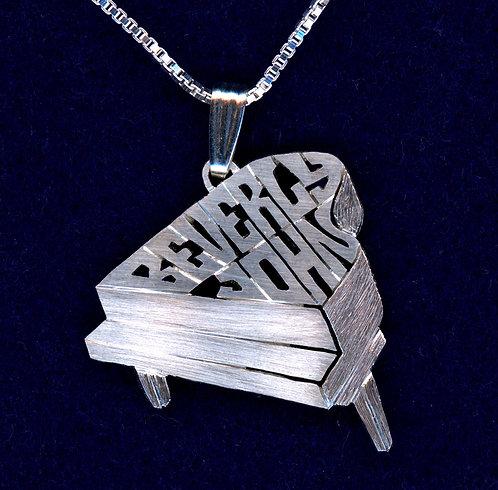PNO 3 Silver Piano necklace.