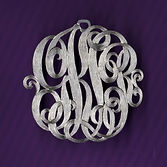 Silver Monogram necklace pendant.