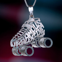 Roller skate silver necklace