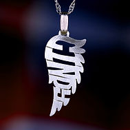 Angel wing name necklace.