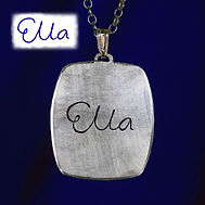 Silver signature name necklace.
