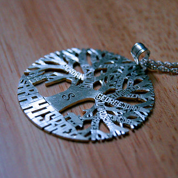 Family tree of life nme initial necklace
