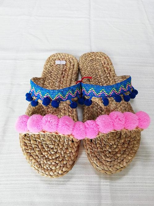 波柄小青ピンクぼんぼりS