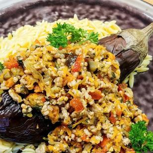 Aubergine confite et pâtes grecques