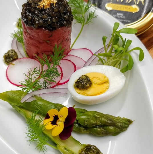 Beef tartar and caviar - appetizer