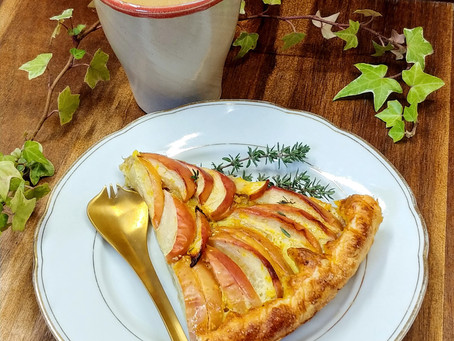 Saffron and thyme apple tart