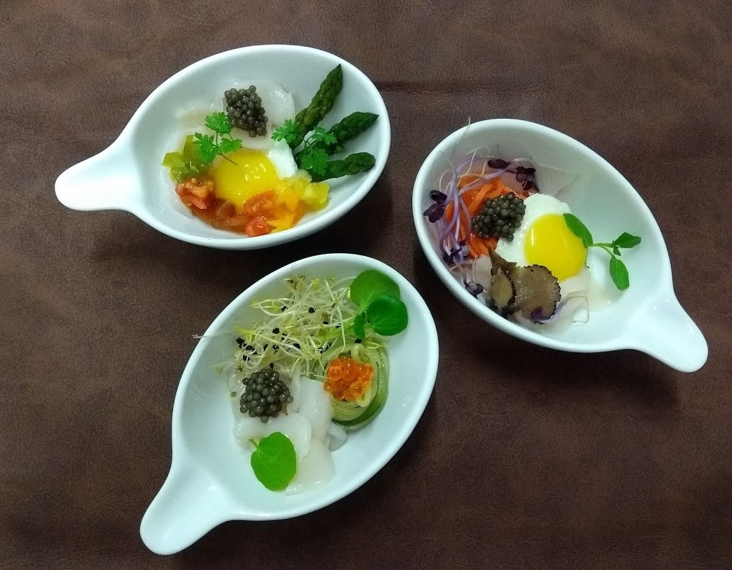 Trio of little starters with Royal Belgian Caviar