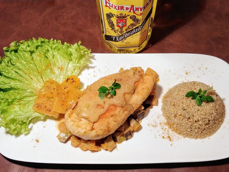 """Chicken breast flamed with """"Elixir d'Anvers"""""""""""