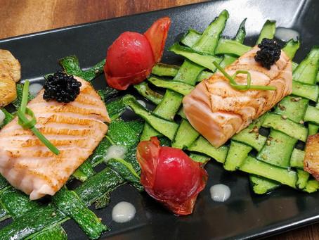 Blowtorch Salmon and caviar