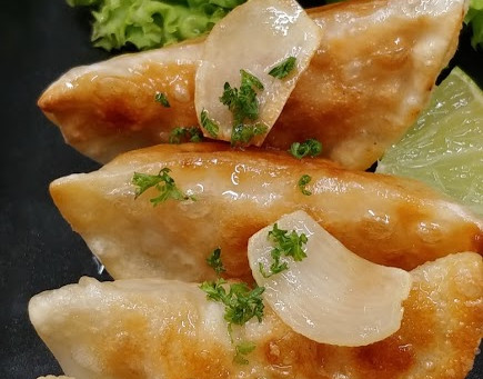 Another recepie of gyoza with shrimps and braised garlic
