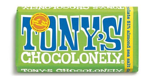 Tony's Chocolonely Dark Choc 51% Almonds & Sea Salt 180g