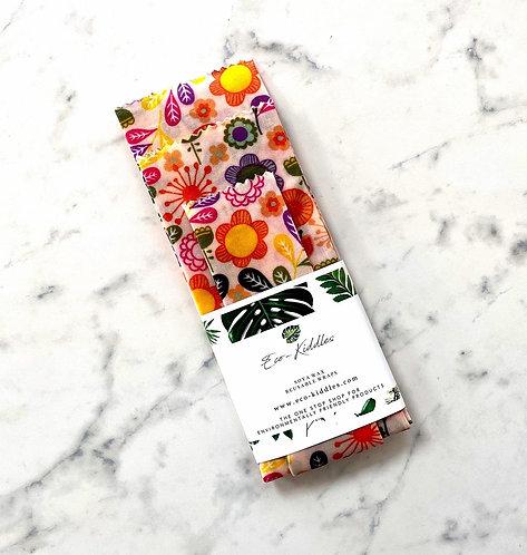 Eco Kiddles Vegan Food Wraps 3X Little Meadow Print - Medium Pack