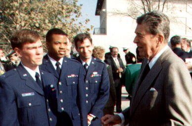 "President Reagan telling us ""good job Air Force""   -- he gave us jelly beans as his thanks.jpg  I re"