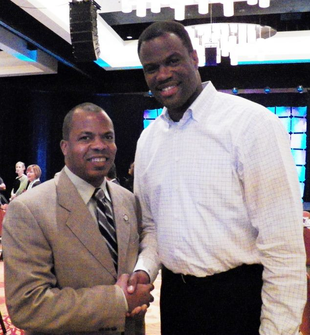 I met David Robinson, the Admiral and founder of the Carver Academy today..
