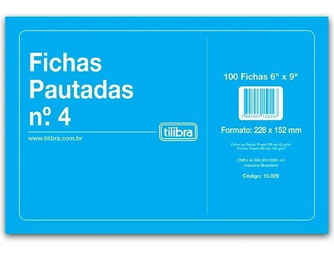Ficha Pautada TILIBRA nº 4 227X151mm