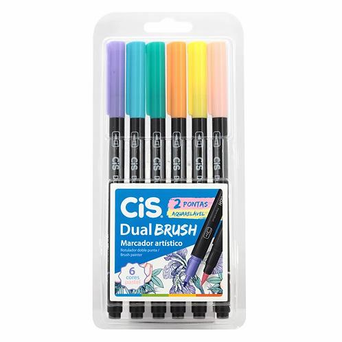 Caneta CIS  Dual Brush Aquarelável Pastel 6un.