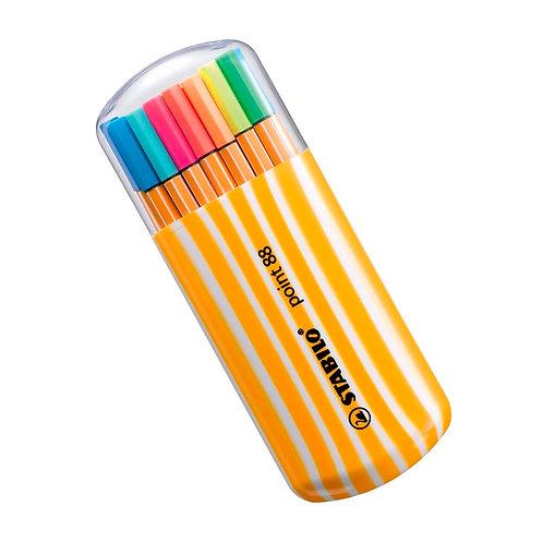 Estojo Caneta STABILO 88 15 cores + 5 neon