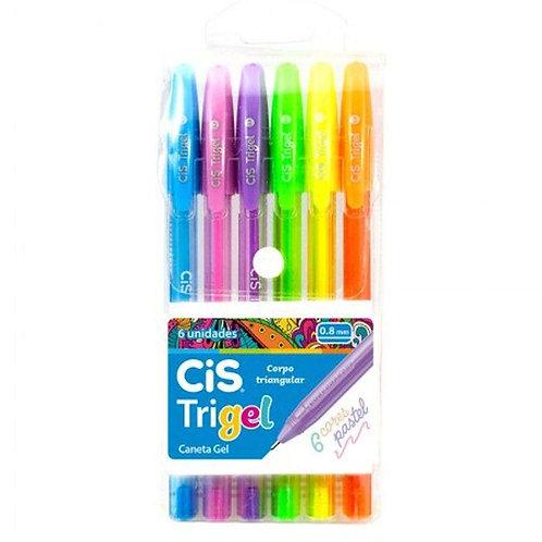 Caneta CIS Trigel 0.8MM Pastel 6un.