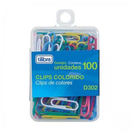 Clips TILIBRA Coloridos 100 un.