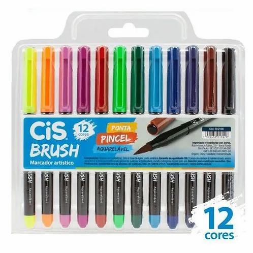 Caneta CIS Brush Aquarelável 12 Cores