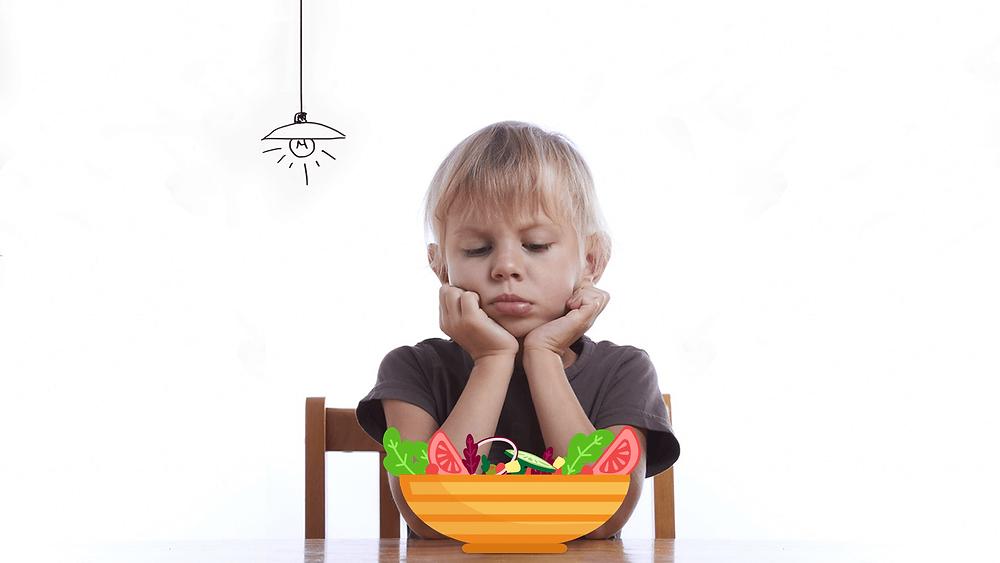 Criança com dificuldades para comer