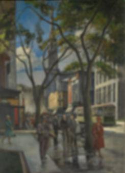 Adrien Hébert, Rue Saint-Denis, 1927, Huile sur toile, 190,6 x 138,2 cm. Collection Musée national des beaux-arts du Québec, achat. Restauration effectuée par le Centre de conservation du Québec (1974.239). © Succession Adrien Hébert.  Photo : MNBAQ, Idra Labrie
