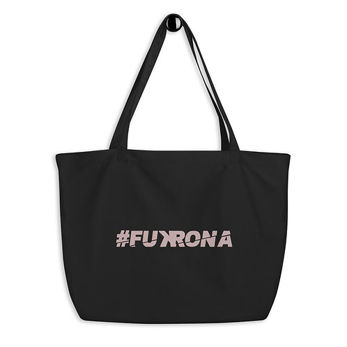 #FUKRONA - Pink On Black Large organic tote bag