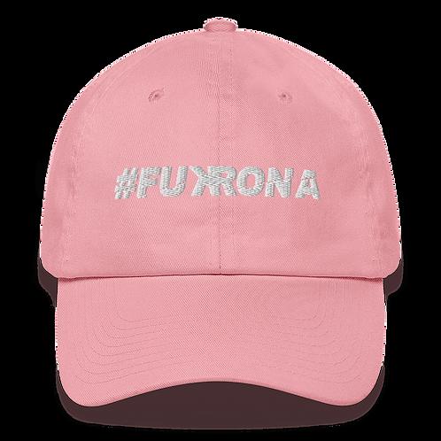 #FUKRONA - Dad Hat - White on Pink