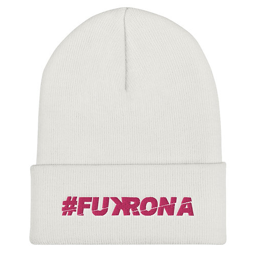 #FUKRONA Cuffed Bean - Pink on White
