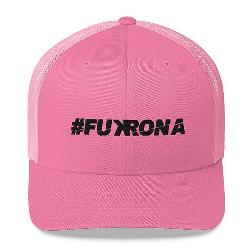#FUKRONA - Trucker Hat - Black on Candy Pink