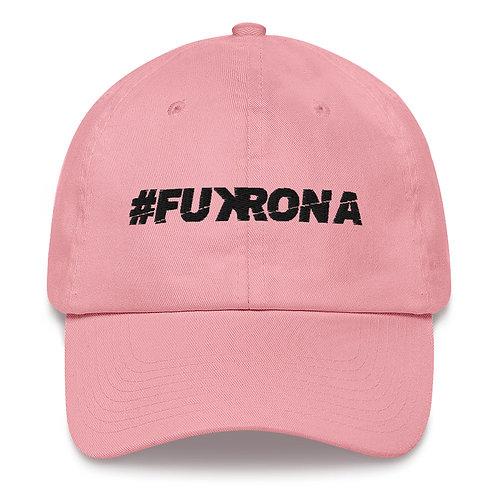 #FUKRONA - Dad Hat - Black on Pink