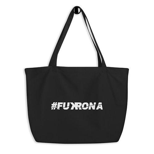 #FUKRONA - White On Black Large organic tote bag