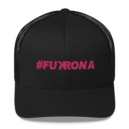 #FUKRONA - Trucker Hat - Candy Pink on Black